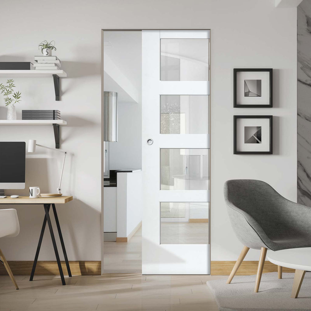 Shaker 4 Pane Absolute Evokit Pocket Door - Clear Glass - Primed