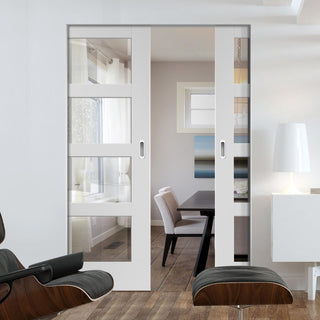 Image: Shaker 4 Pane Absolute Evokit Double Pocket Door - Clear Glass - Primed