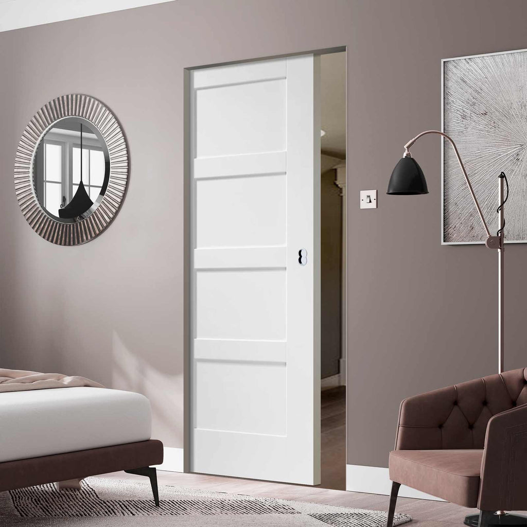 Shaker 4 Panel Absolute Evokit Pocket Door - Primed