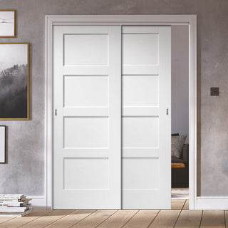 Image: Two Sliding Doors and Frame Kit - Shaker 4P Door - White Primed