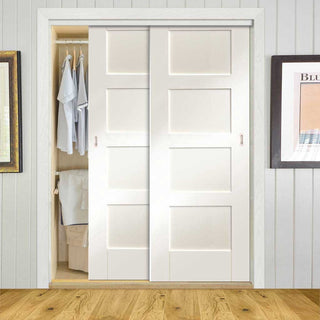 Image: Thruslide Shaker 2 Door Wardrobe and Frame Kit - White Primed