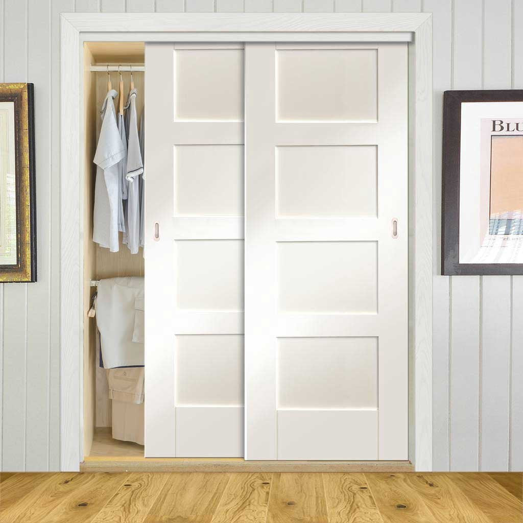 Bespoke Thruslide Shaker 4P 2 Door Wardrobe and Frame Kit - White Primed - White Primed