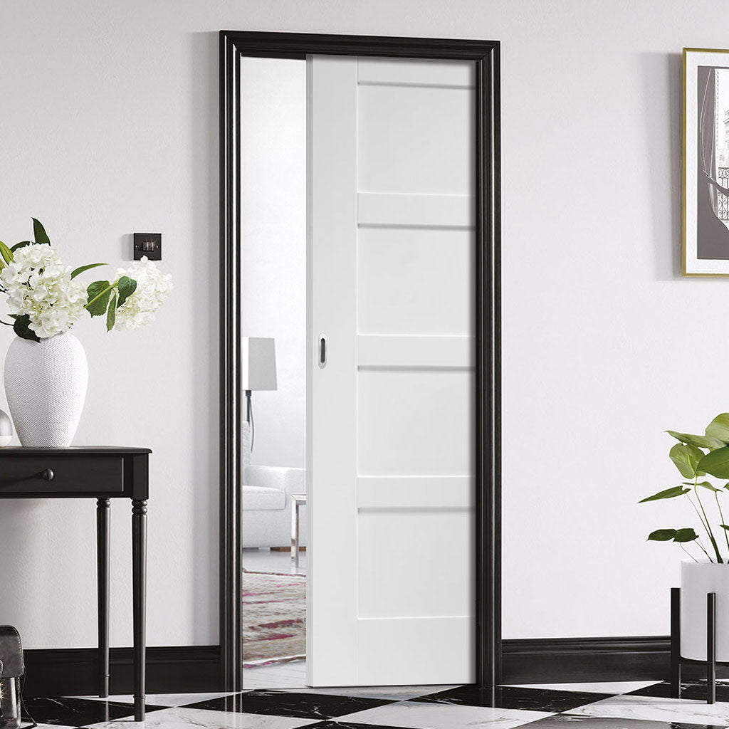 Shaker 4P Single Evokit Pocket Door - White Primed