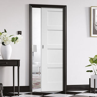 Image: Shaker 4P Single Evokit Pocket Door - White Primed