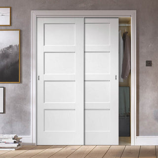 Image: Two Sliding Wardrobe Doors & Frame Kit - Shaker 4P Door - White Primed
