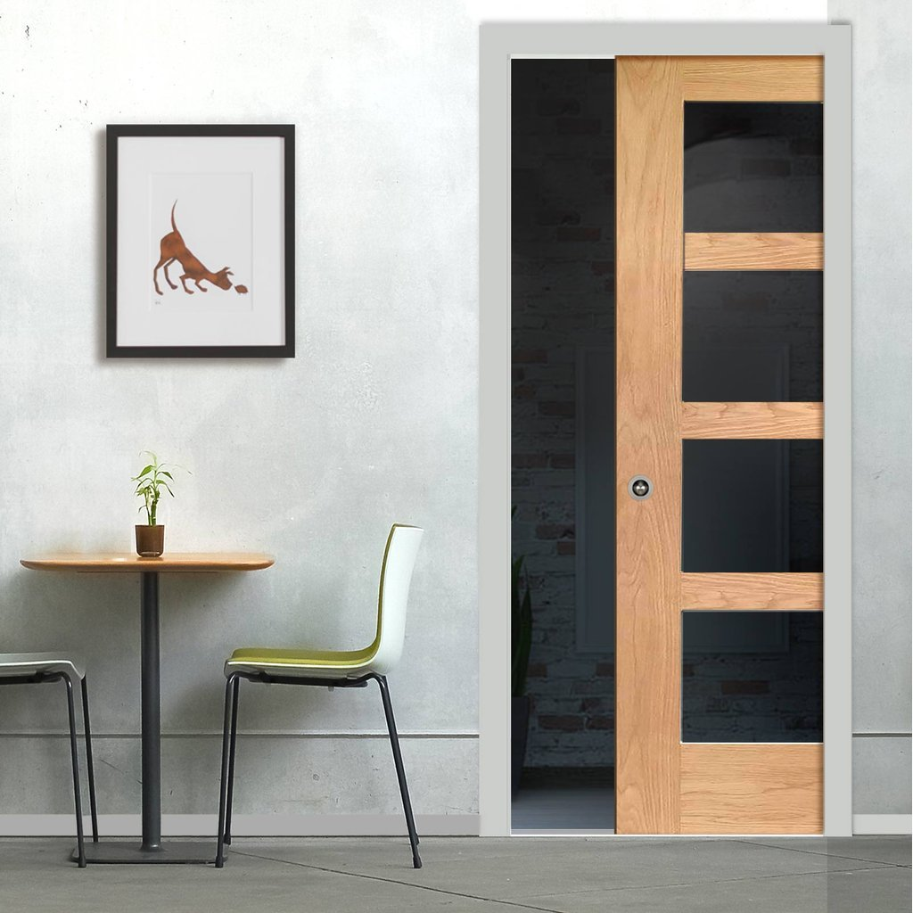 Shaker Oak 4 Pane Single Evokit Pocket Door - Clear Glass