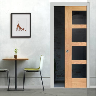 Image: Shaker Oak 4 Pane Single Evokit Pocket Door - Clear Glass