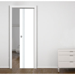 Image: Sierra Blanco Flush Single Evokit Pocket Door - White Painted