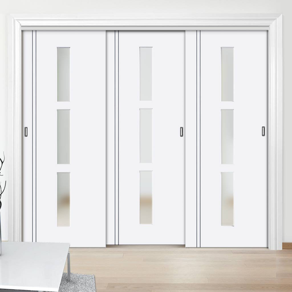 Three Sliding Doors and Frame Kit - Sierra Blanco Door - Frosted Glass - White Painted