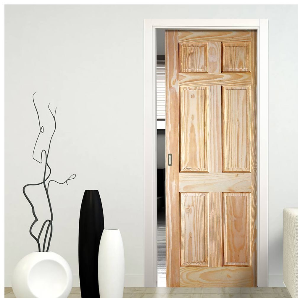 6P Pine Single Evokit Pocket Door