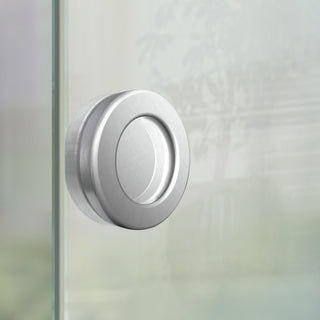 Image: Round Flush Pull Handles 64mm Brushed Stainless Steel - Surface Fix For Full Pane Glass Doors