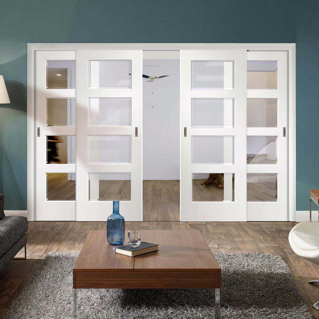 Four Sliding Doors and Frame Kit - Severo White 4L Door - Clear Bevelled Glass - Prefinished