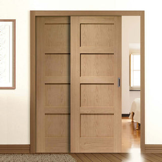 Image: Thruslide Shaker Oak 4 Panel - 2 Sliding Doors and Frame Kit