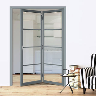 Image: Jeld-Wen Slim-Line Grey 4 Light Clear Glazed Room Divider 2+0 - Prefinished