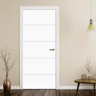 Image: White Fire Door, Horizontal 4 Line Smooth Door - 1/2 Hour Rated - White Primed