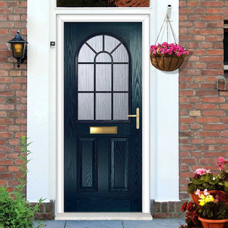 Image: Premium Composite Entrance Door Set - Snipe 1 Geo Bar Cotswold Glass - Shown in Blue