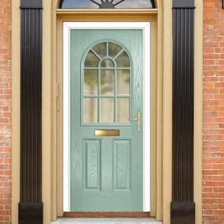 Image: Premium Composite Entrance Door Set - Snipe 1 Geo Bar Clear Glass - Shown in Chartwell Green
