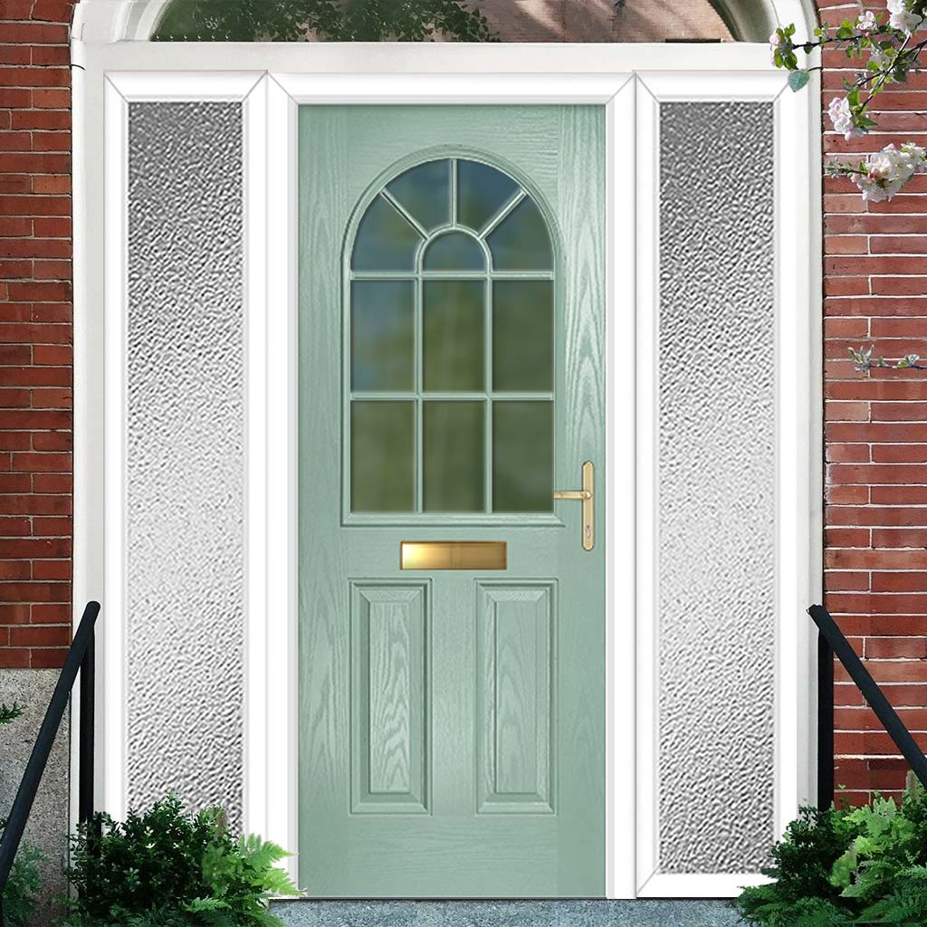 Premium Composite Entrance Door Set with Two Side Screens - Snipe 1 Geo Bar Clear Glass - Shown in Chartwell Green
