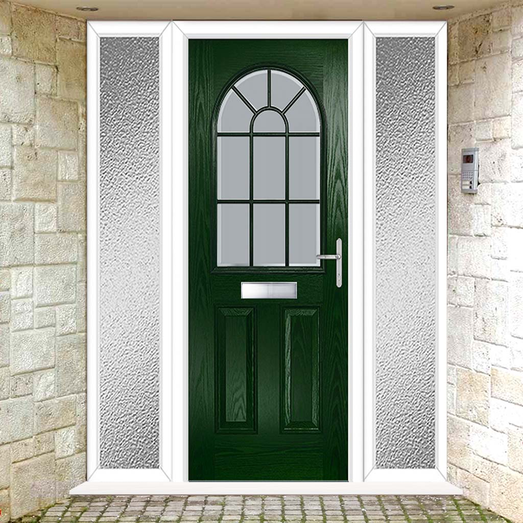 Premium Composite Entrance Door Set with Two Side Screens - Snipe 1 Geo Bar Sandblast Ice Glass - Shown in Green
