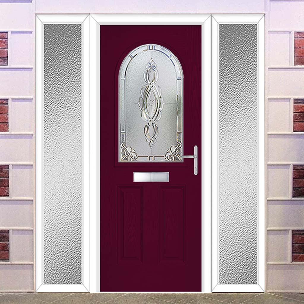 Premium Composite Entrance Door Set with Two Side Screens - Snipe 1 Pectolite Glass - Shown in Purple Violet