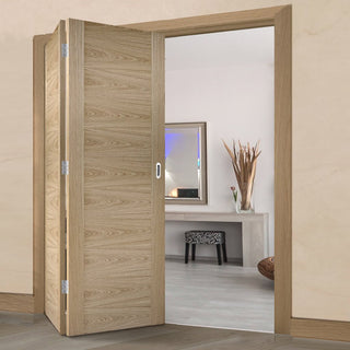 Image: Two Folding Doors & Frame Kit - Sofia Flush Oak 2+0 - Prefinished