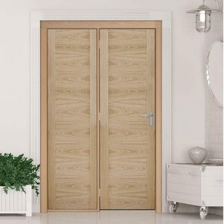 Image: ThruEasi Room Divider - Sofia Flush Oak Prefinished Door with Single Side - 2018mm High - Multiple Widths