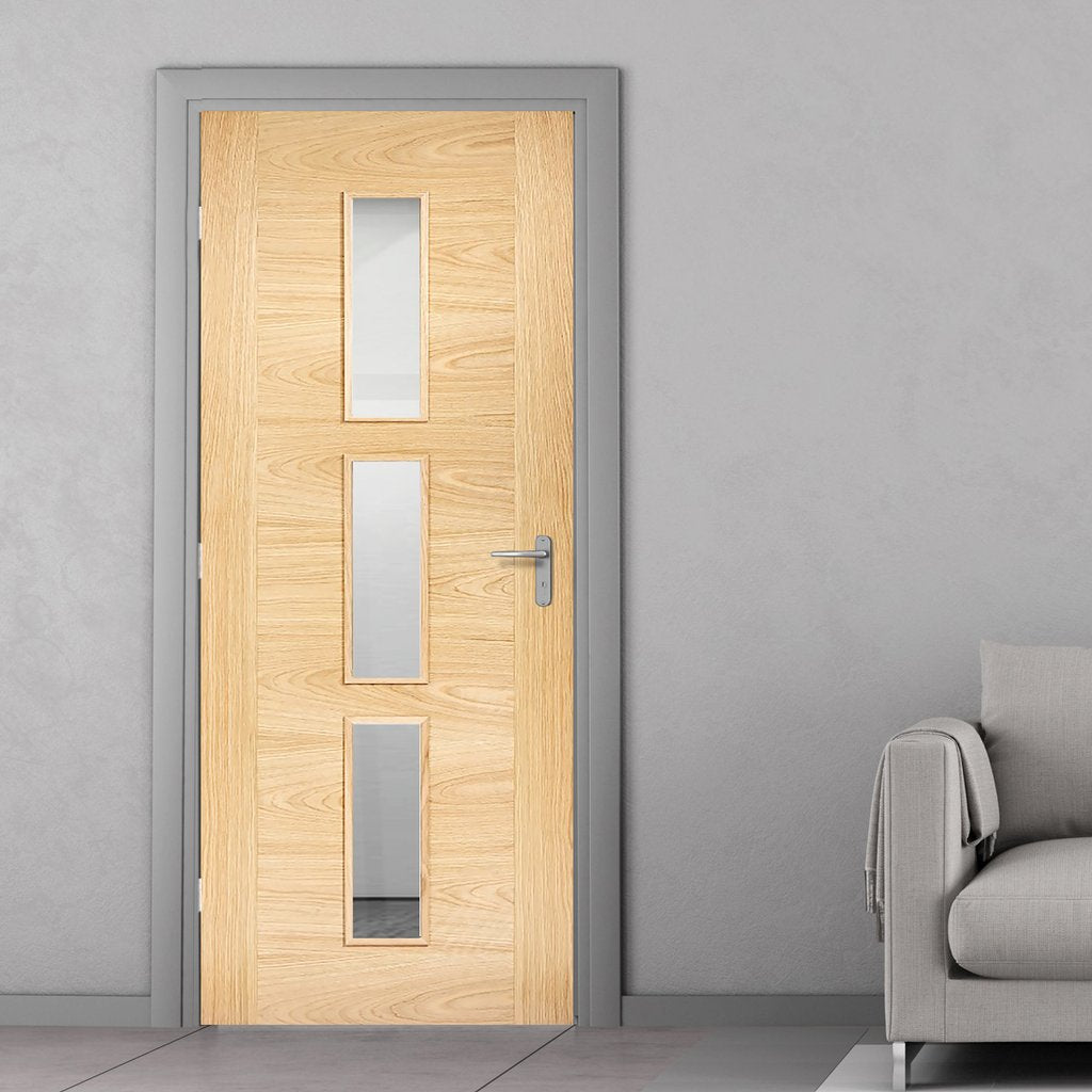 Bespoke Sofia 3L Oak Door - Clear Glass - Prefinished