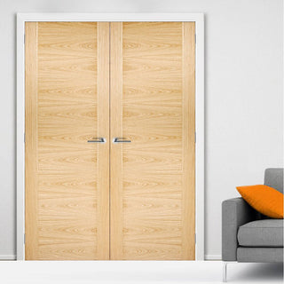Image: Bespoke Sofia Oak Flush Door Pair - Prefinished