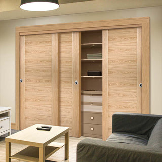 Image: Bespoke Sofia Oak Flush Door - 3 Door Wardrobe and Frame Kit - Prefinished
