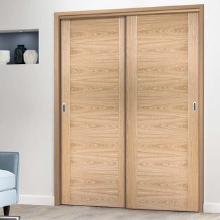 Image: Bespoke Sofia Oak Flush Door - 2 Door Wardrobe and Frame Kit - Prefinished