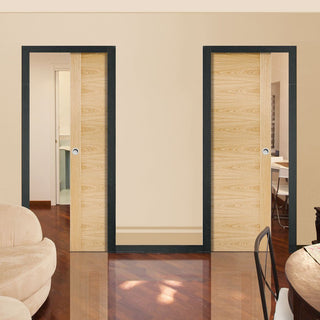 Image: Sofia Oak Veneer Unico Evo Pocket Doors - Prefinished
