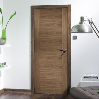 Image: Contemporary walnut veneer interior door