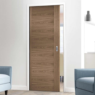 Image: Sofia Walnut Veneer Single Evokit Pocket Door - Prefinished