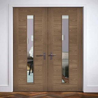 Image: Sofia Walnut Veneer Door Pair - Clear Glass - Prefinished