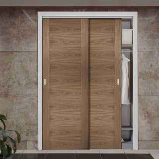 Image: Two Sliding Wardrobe Doors & Frame Kit - Sofia Walnut Veneer Door - Prefinished