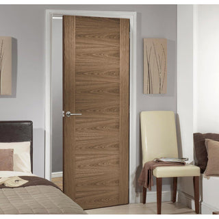 Image: LPD Joinery Sofia Walnut Veneer Fire Door - 1/2 Hour Fire Rated - Prefinished