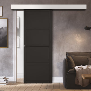 Image: Single Sliding Door & Wall Track - Soho 4 Panel Door - Black Primed