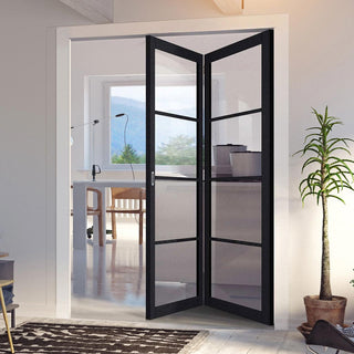 Image: Two Folding Doors & Frame Kit - Soho 4 Pane Charcoal 2+0 - Clear Glass - Prefinished