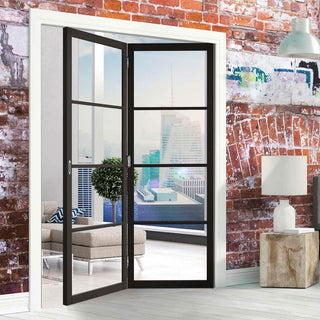 Image: Two Folding Doors & Frame Kit - Soho 4 Pane 2+0 - Clear Glass - Black Primed