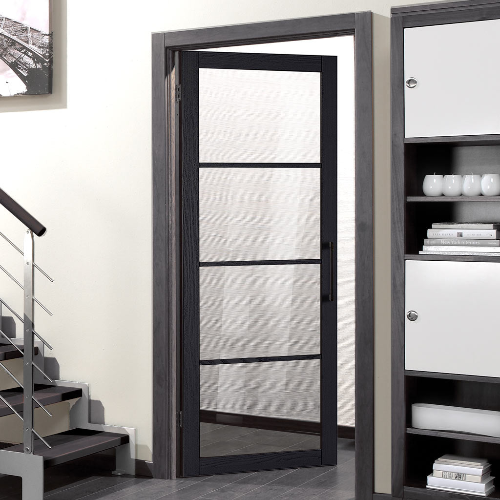 Soho 4 Pane Charcoal Door - Clear Glass - Prefinished