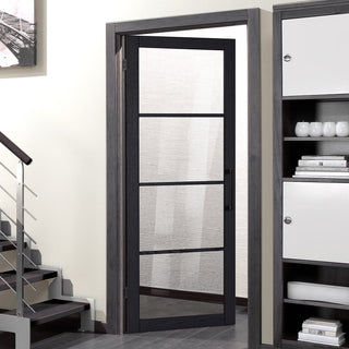 Image: Soho 4 Pane Charcoal Door - Clear Glass - Prefinished
