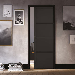 Image: Soho 4 Panel Black Primed Single Evokit Pocket Door