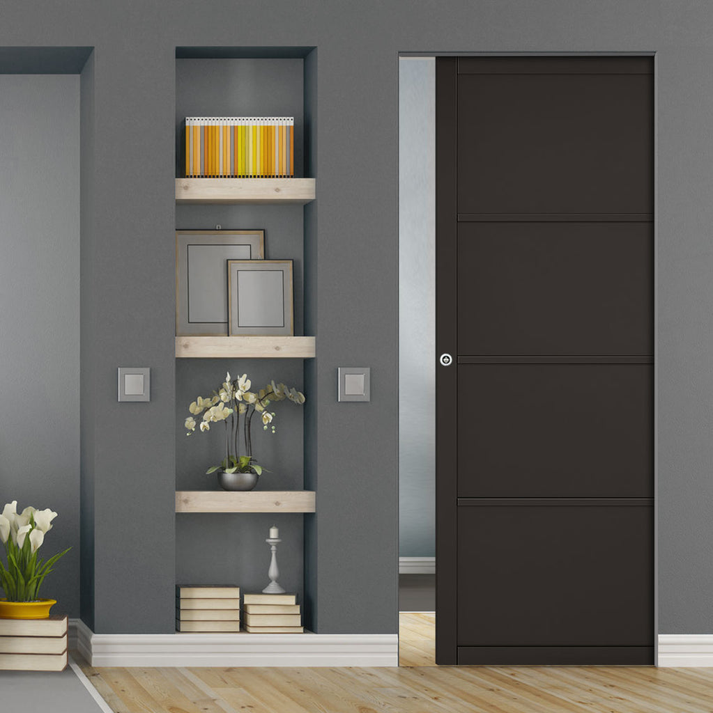 Soho 4 Panel Black Primed Absolute Evokit Single Pocket Door