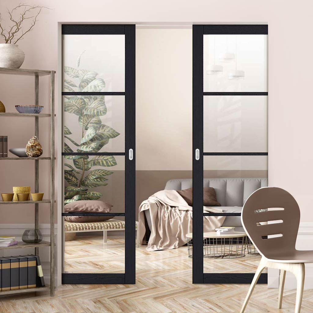 Soho 4 Pane Charcoal Absolute Evokit Double Pocket Door - Clear Glass - Prefinished
