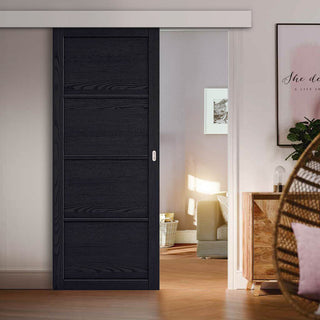 Image: Single Sliding Door & Wall Track - Soho 4 Panel Charcoal Door - Prefinished