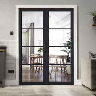 Image: Soho 4 Pane Charcoal Door Pair - Clear Glass - Prefinished