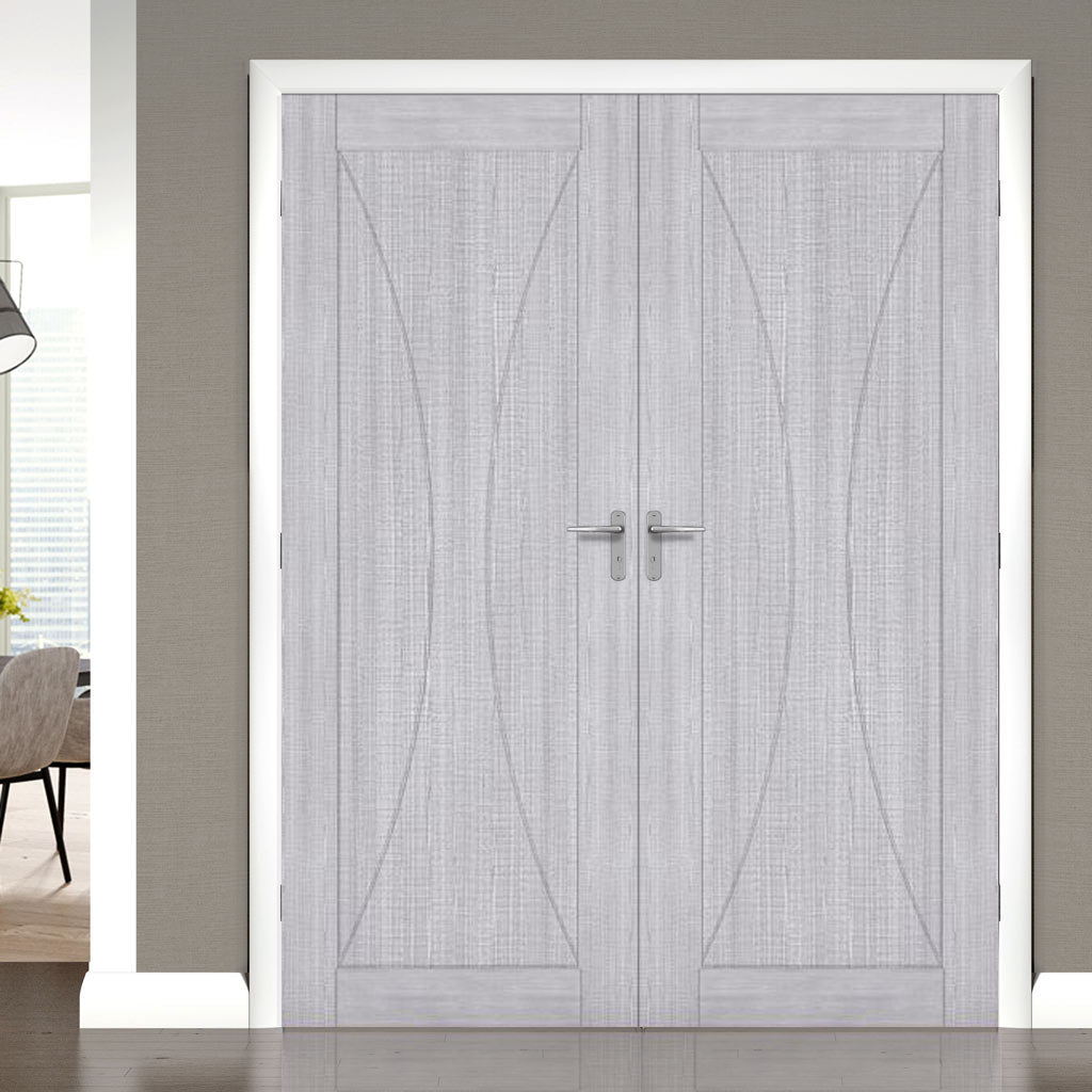 Bespoke Sorrento Light Grey Ash Fire Door Pair - 1/2 Hour Fire Rated - Prefinished