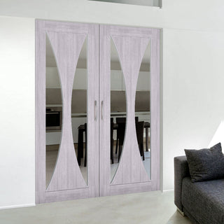 Image: Bespoke Sorrento Prefinished Light Grey Ash Door Pair - Clear Glass
