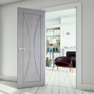 Image: Sorrento Light Grey Ash Fire Door - 1/2 Hour Fire Rated - Prefinished