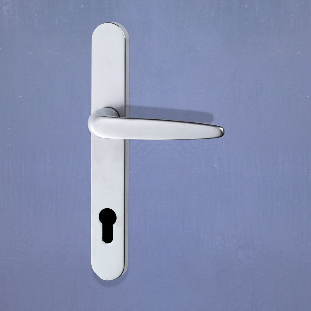 Sale - Pair of Trojan Sale - Sparta 92PZ Sprung Lever UPVC Door Handles Long Backplate Silver